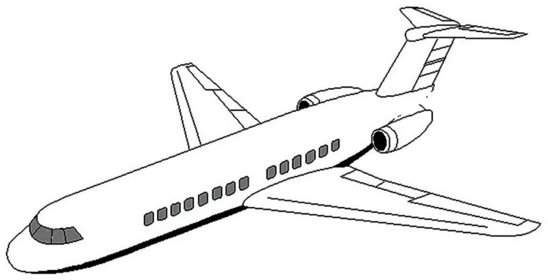 Airplane image coloring page