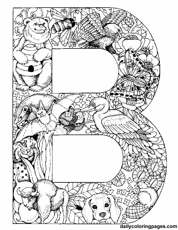 bold B coloring page