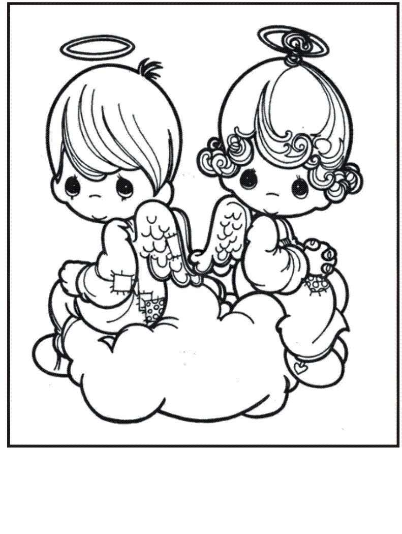 Angel twins coloring page