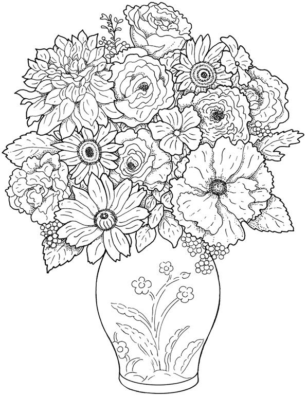 adult flower and vase coloring page