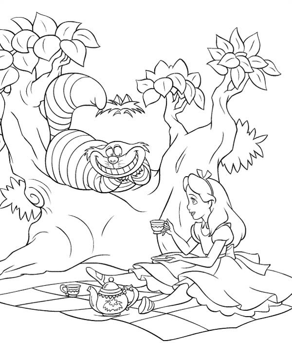 smiling cat with Alice coloring page