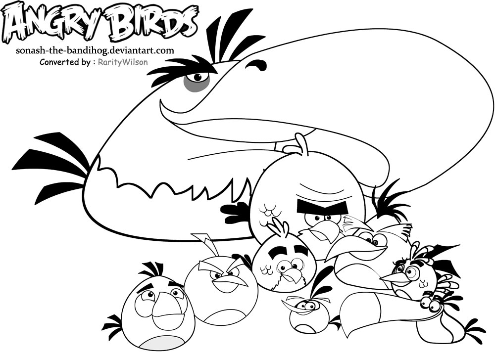 Angry Birds Coloring Pages Mighty Eagle