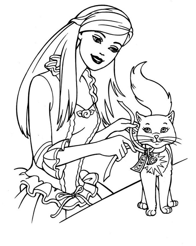Sparkling Barbie Image Coloring Page With Kitty