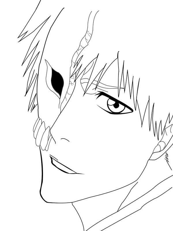 ichigo kurosaki face coloring page