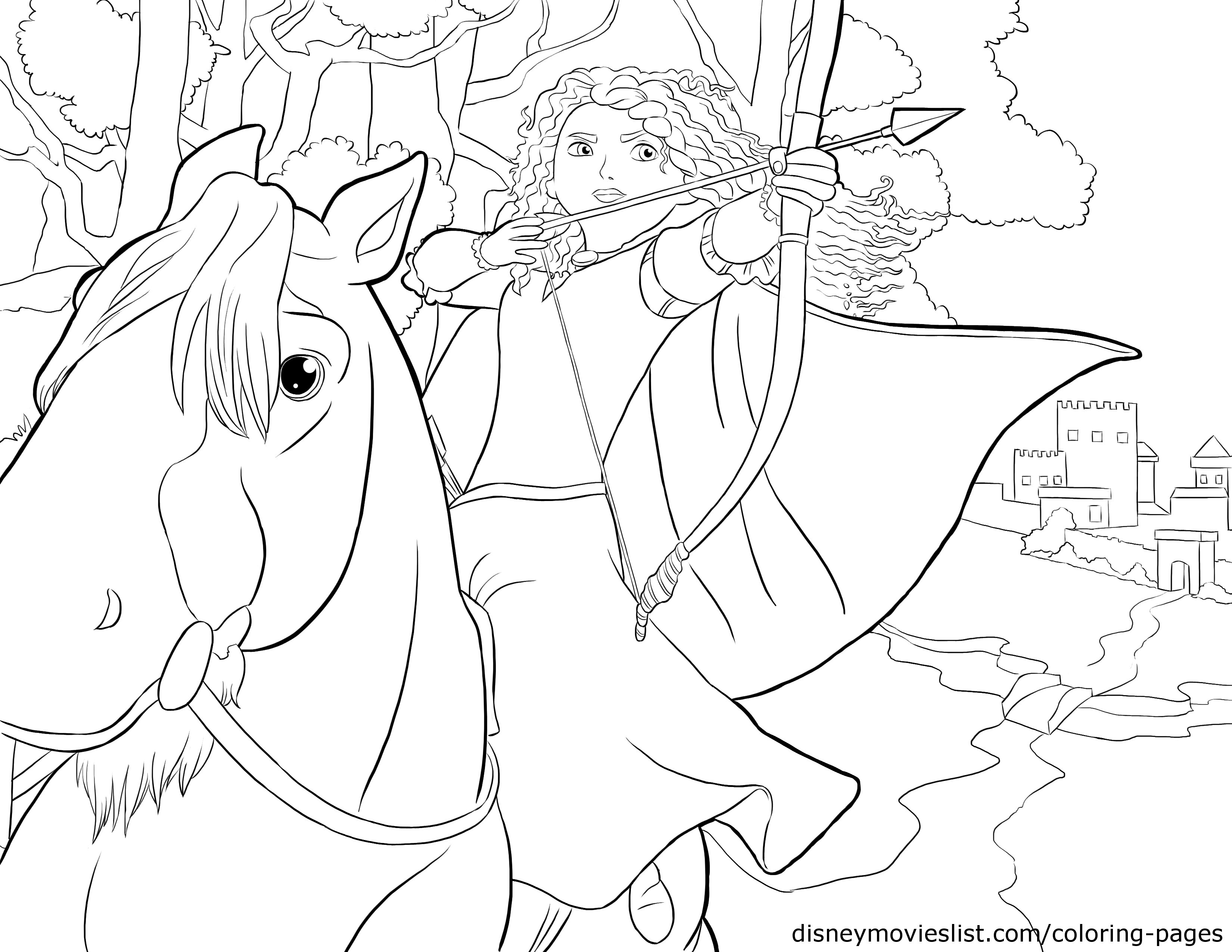 Princess Merida on horse coloring page