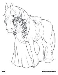 Princess With Her Horse Coloring Page