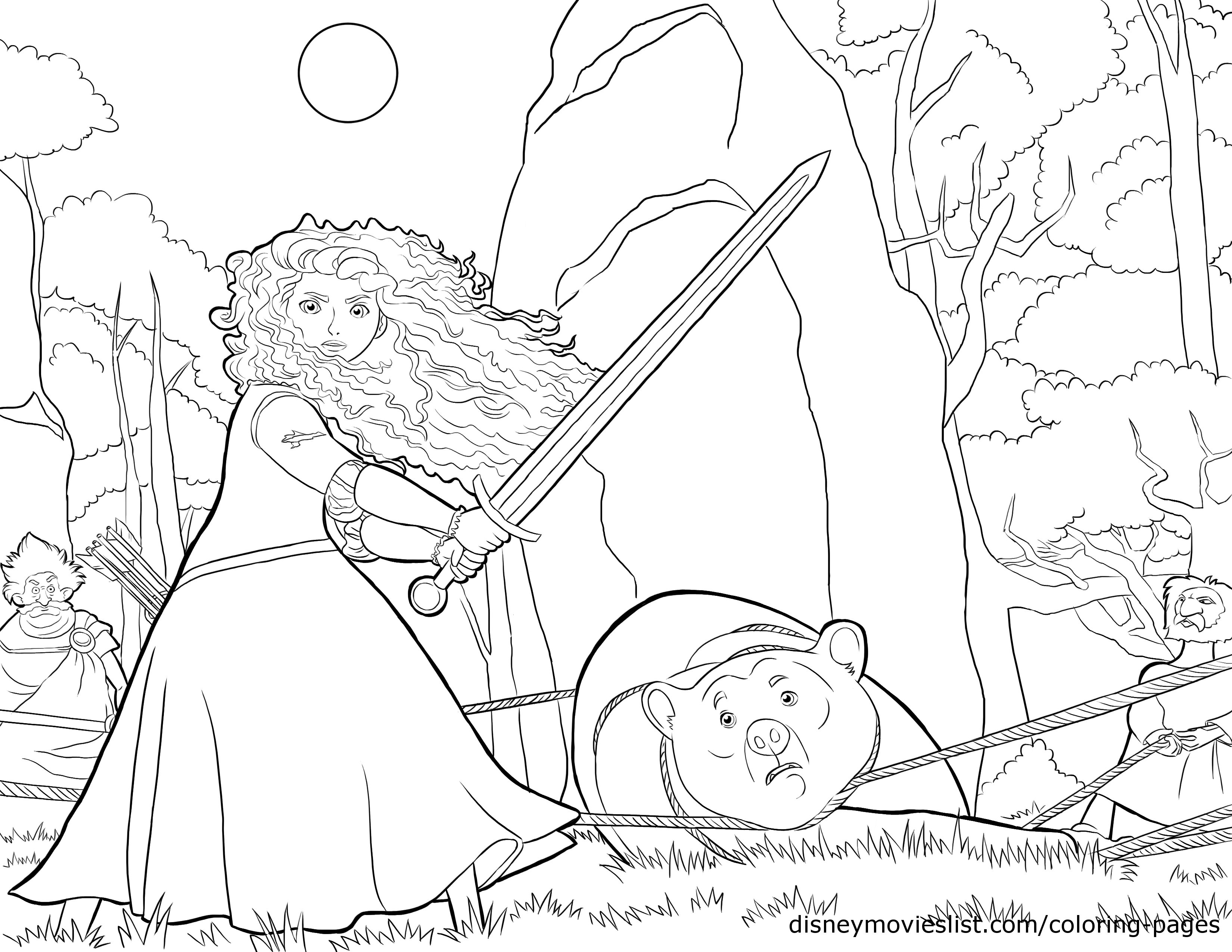 Merida in action coloring page