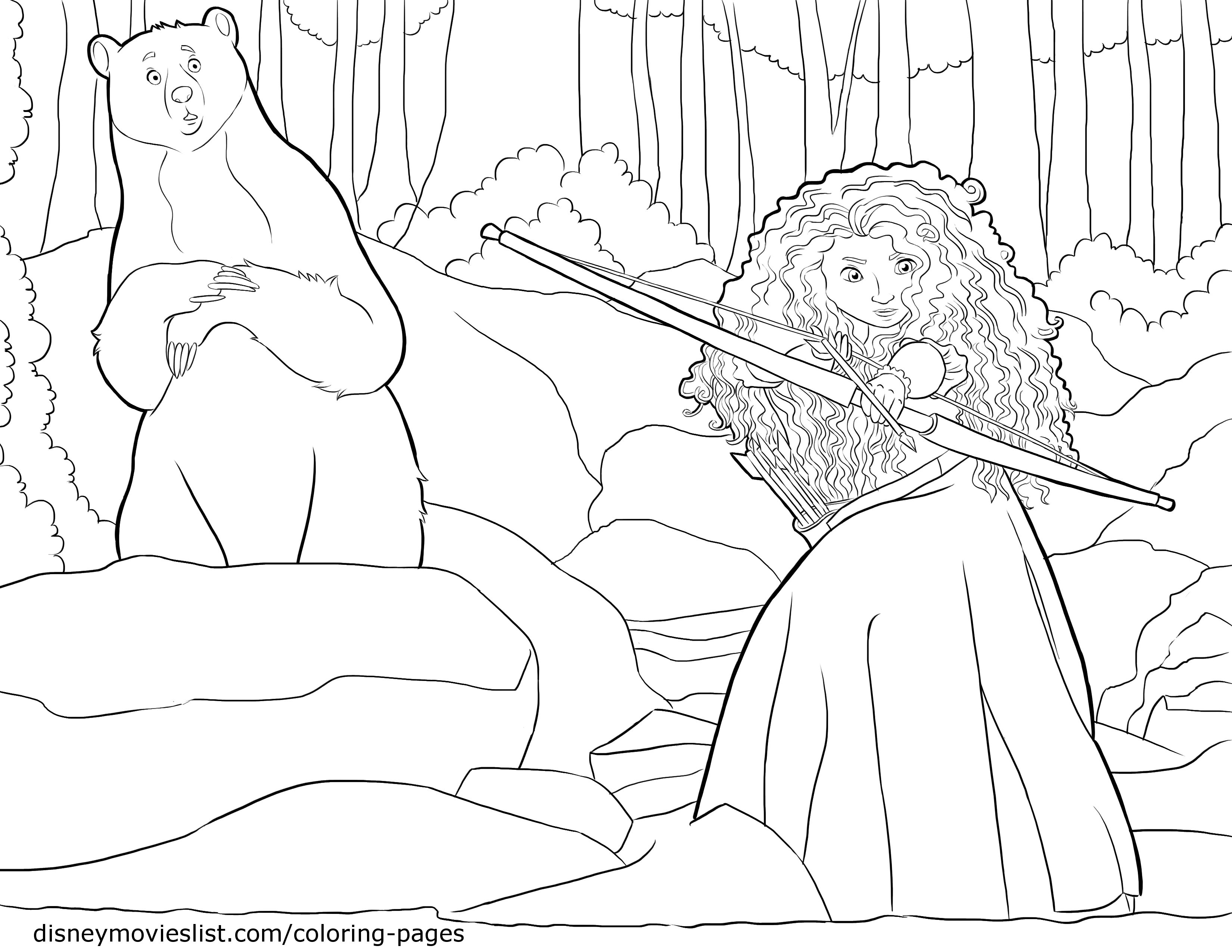 Merida in to the woods with her Mom Bear