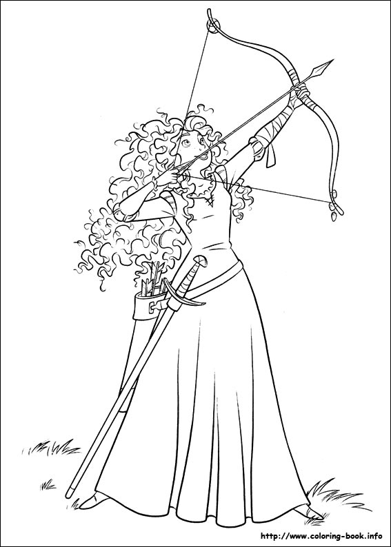 Merida with bow coloring page