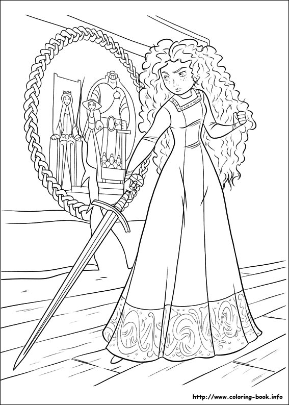 Merida with sward printable page