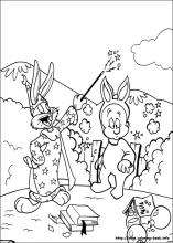 Bugs Bunny and hunter man having fun coloring page