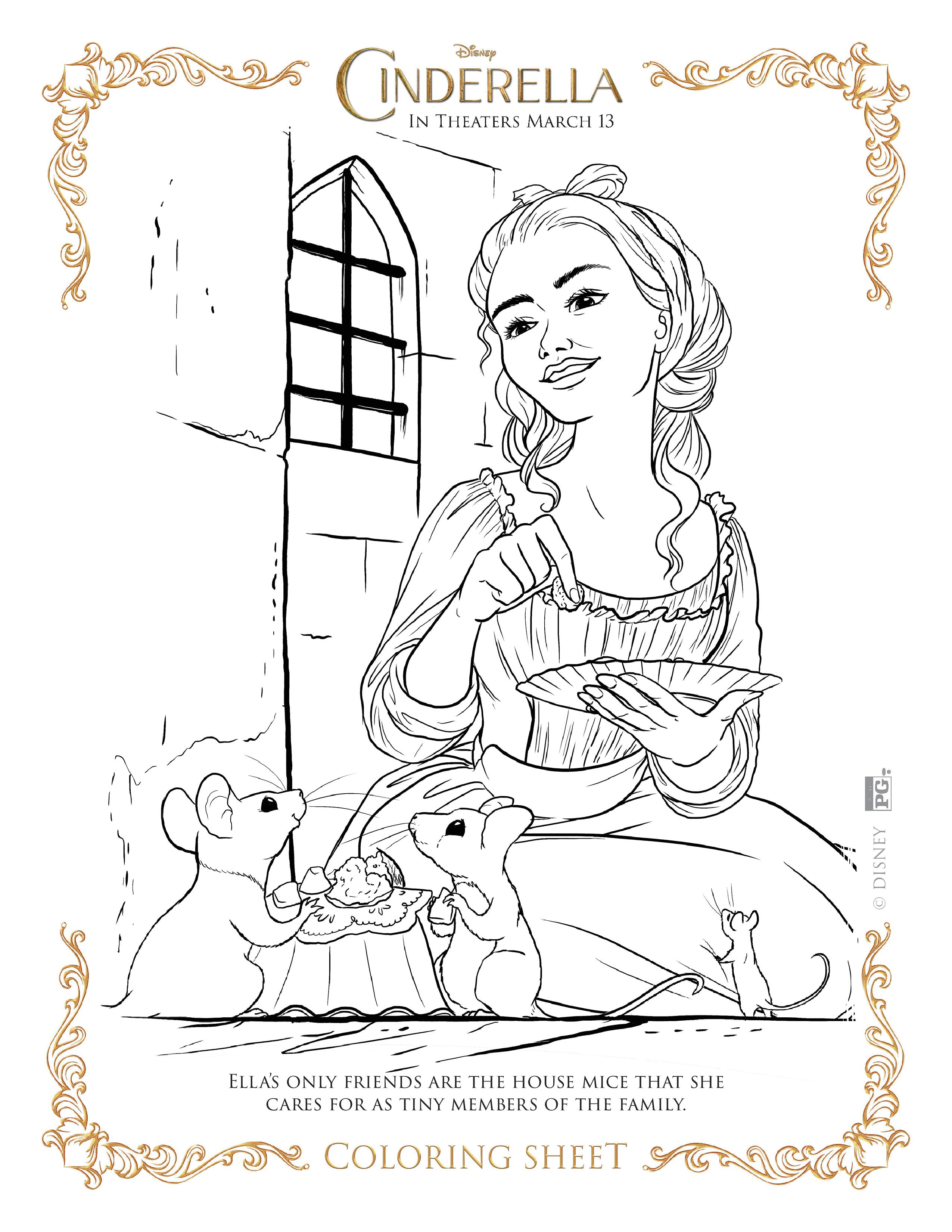 Cinderella giving foods to the rats coloring page