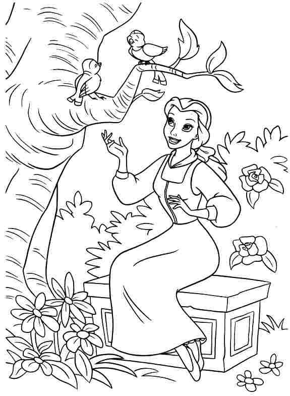 Belle sings with birds coloring page