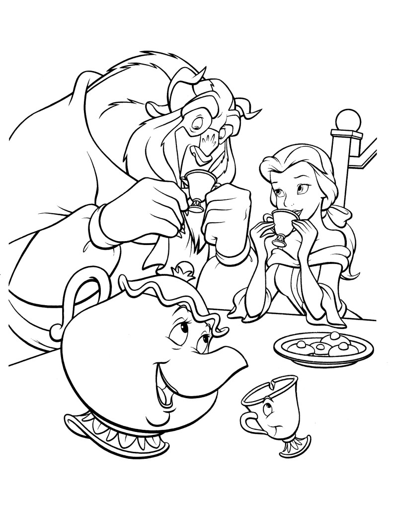 Belle & the Beast having tea together coloring page