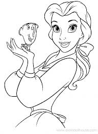 Belle with tiny Chip coloring page