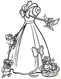 rats crafting apparel for Cinderella  coloring page