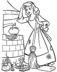 Cinderella doing her daily work coloring page