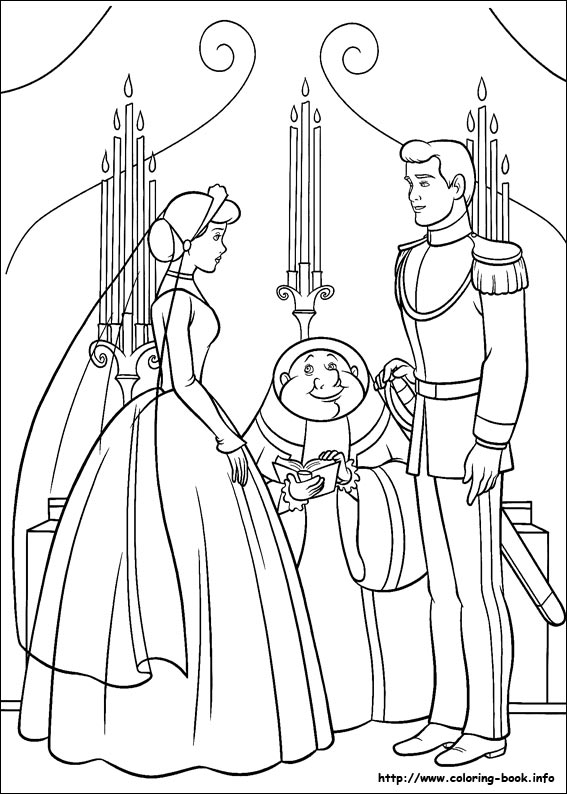 cinderella prince at the wedding moment coloring page