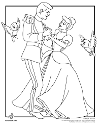 Cinderella & Prince charming dancing together coloring page