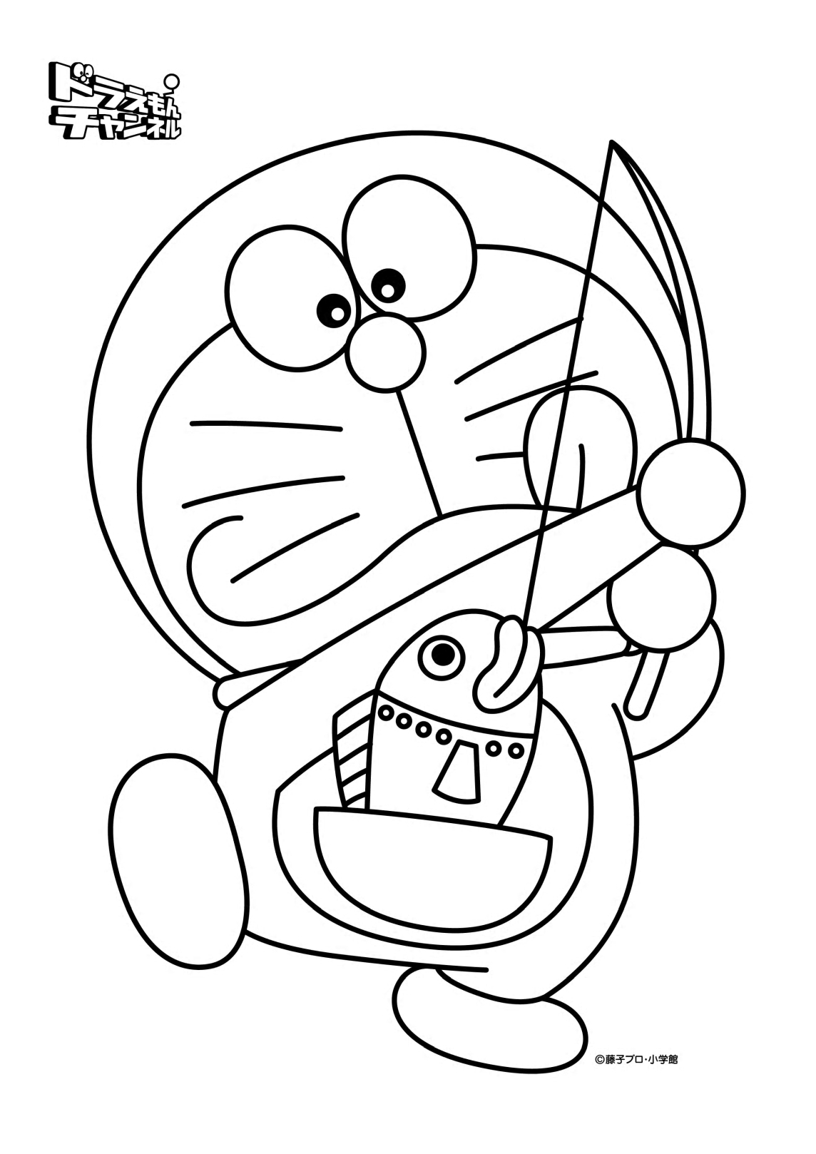 Doraemon Catching Fish Coloring Page