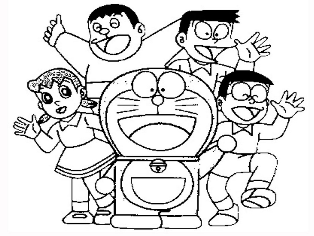 Doraemon with friends printable page