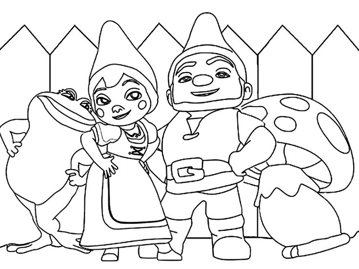 gnomeo juliet united with friends coloring page - Garden Gnome Coloring Pages