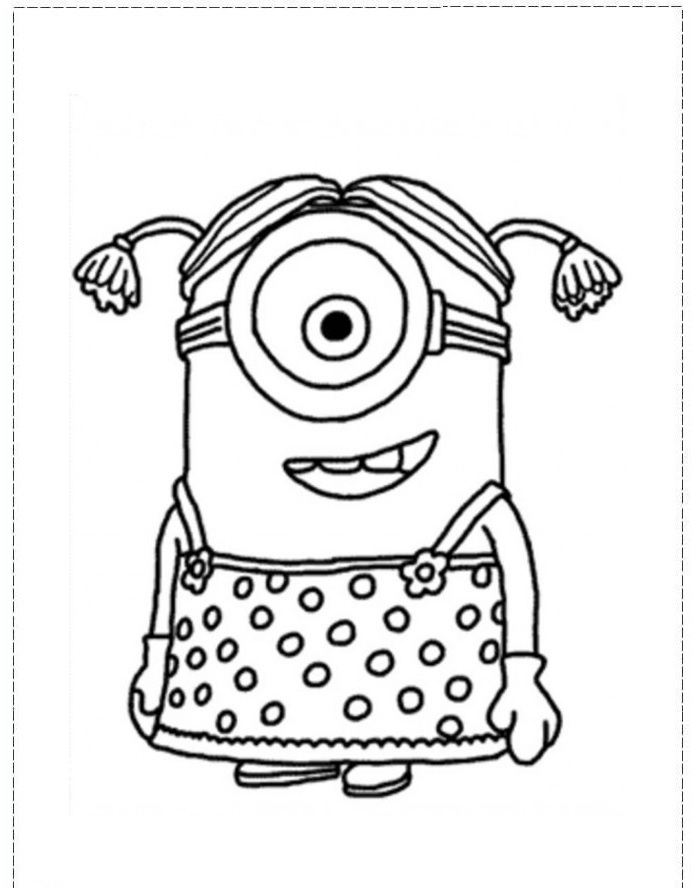 Cute Phil Minion Coloring Page For Kids