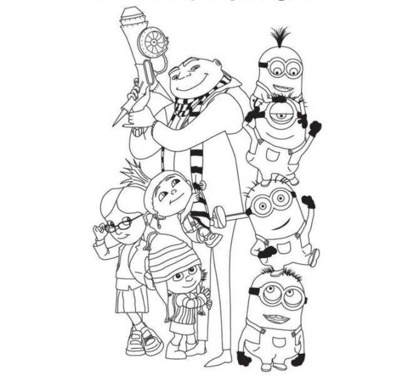 despicable me the full team coloring page