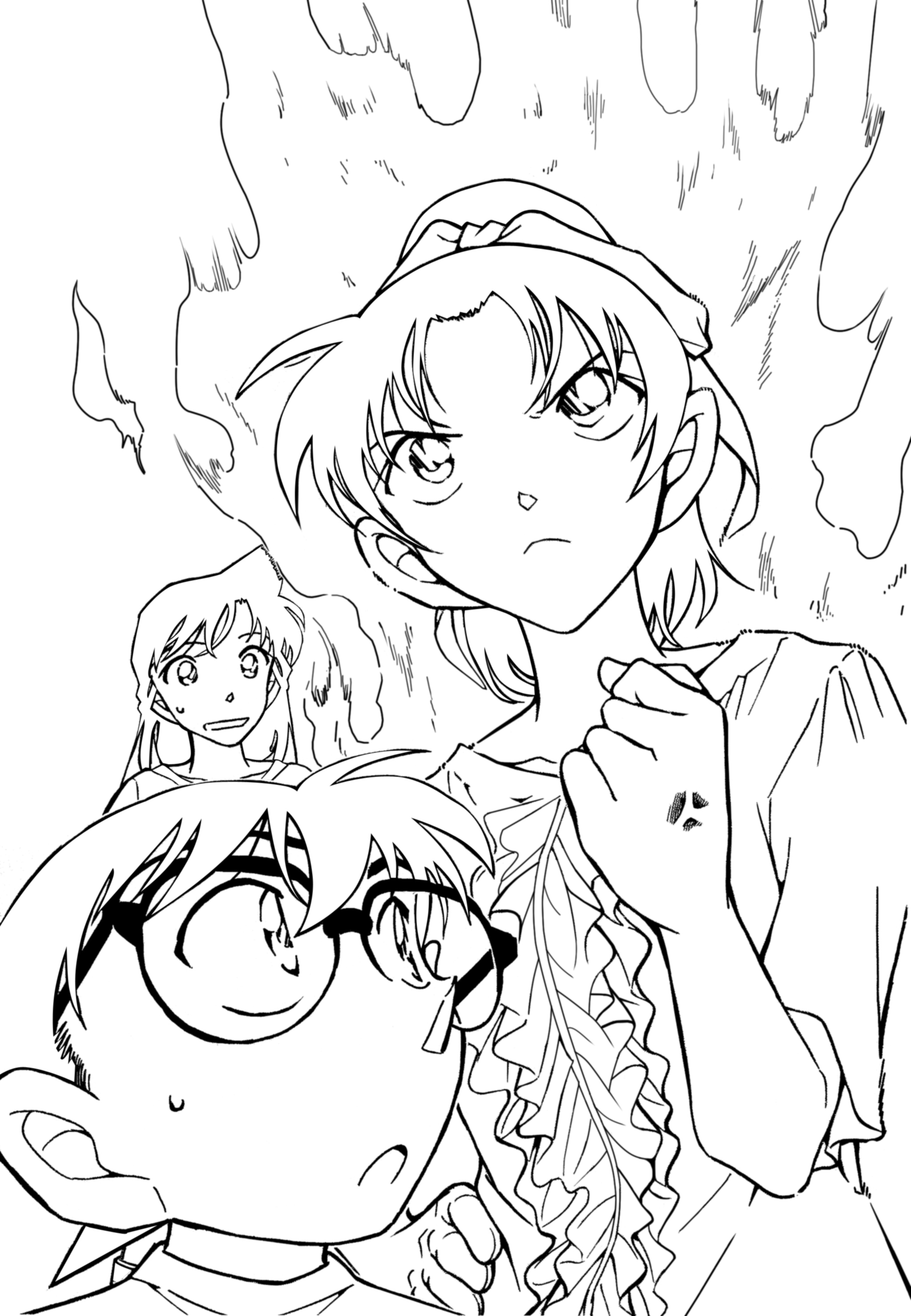 Ran Mouri with the team coloring page