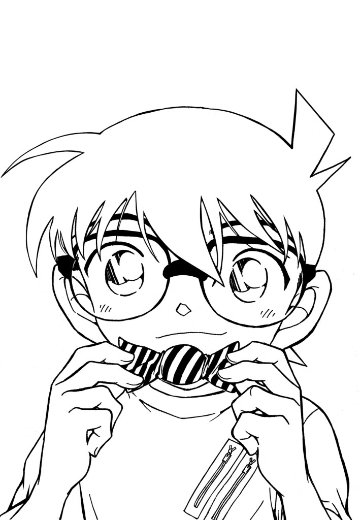 Canon Edogawa eating candy coloring page