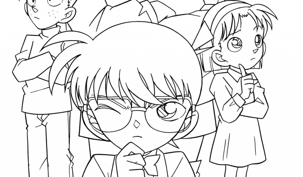 detective coloring pages - detective conan print and color free printables