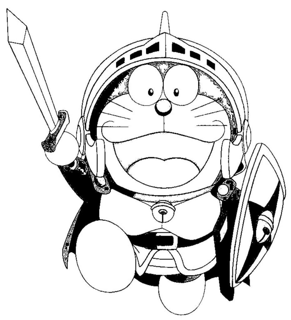 while Doraemon is a fighter coloring page