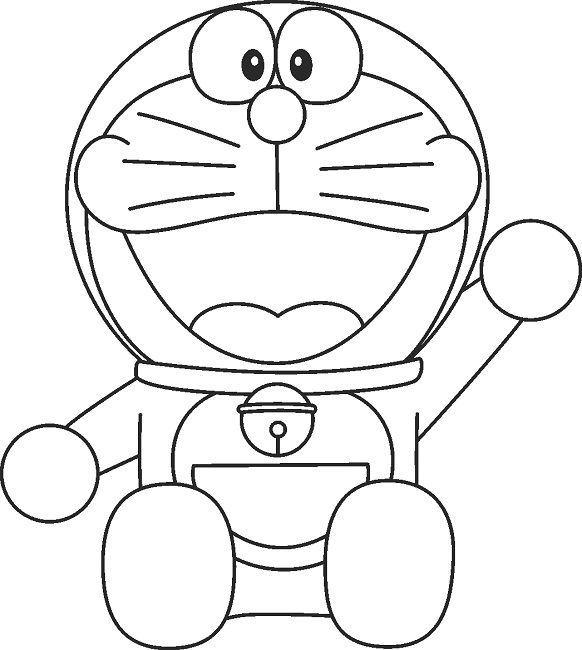 Doraemon is ready for fun coloring page