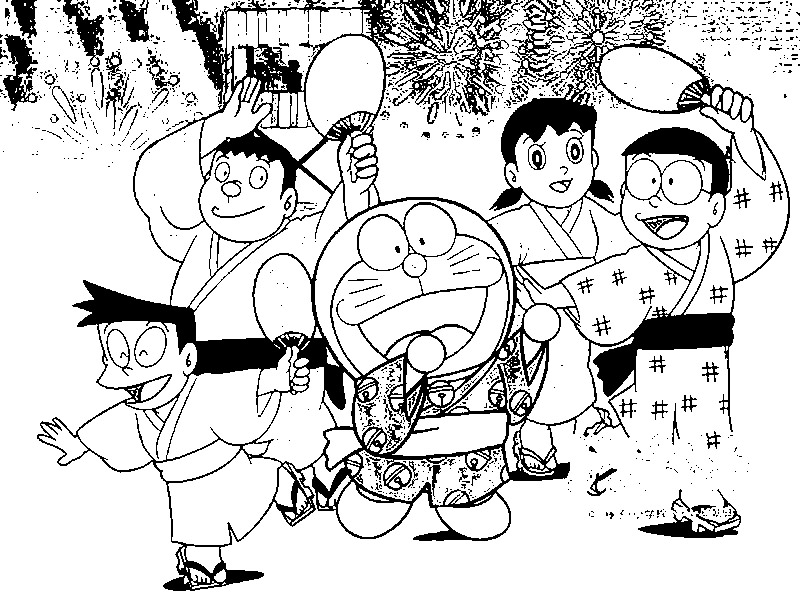 Doraemon  and friends coloring page