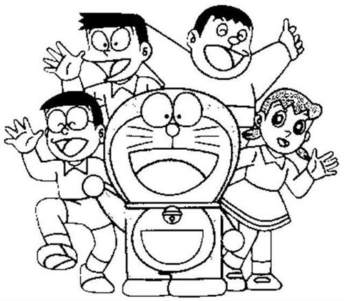 Doraemon with Nobita and the team coloring page