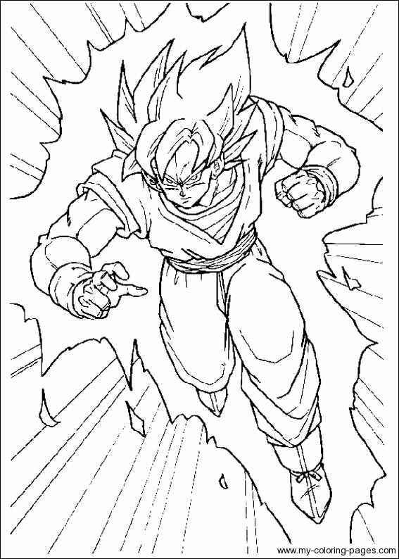 goku in a rush coloring page - Coloring Pages Dragon Ball Goku