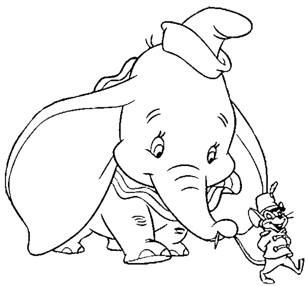 Dumbo with Timothy Q. Mouse coloring page