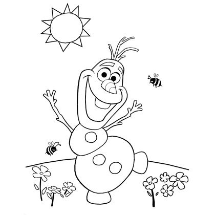 Cute Olaf coloring page