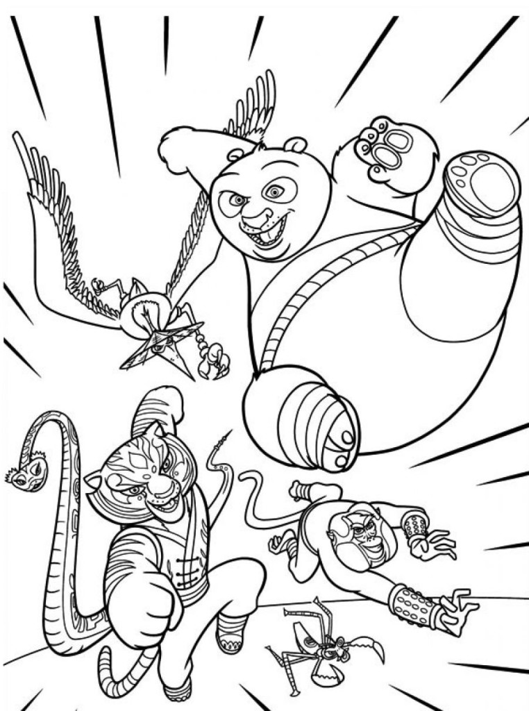 Kung Fu Panda Coloring Pages 12 Furious Five