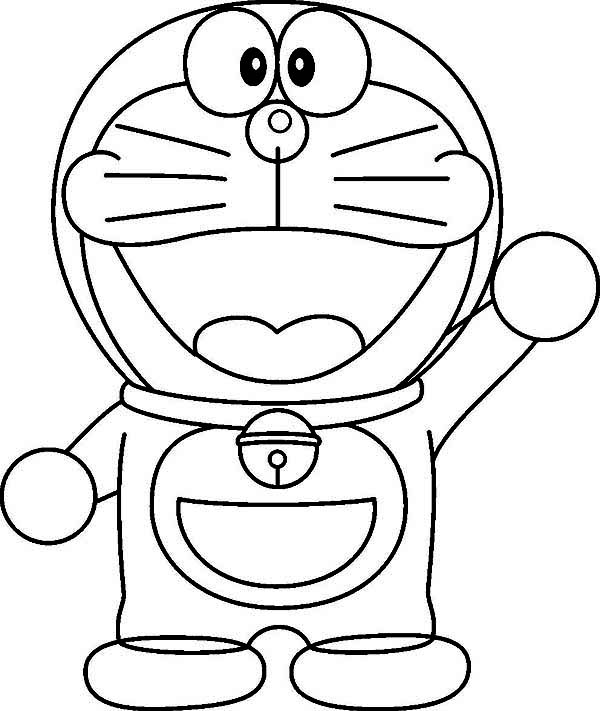 a happy Doraemon coloring page for kids