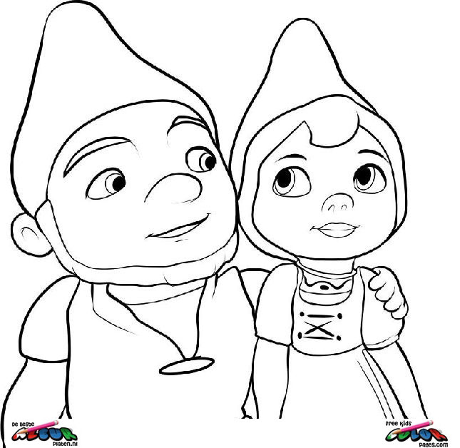 coloring page gnomeo is always there for juliet