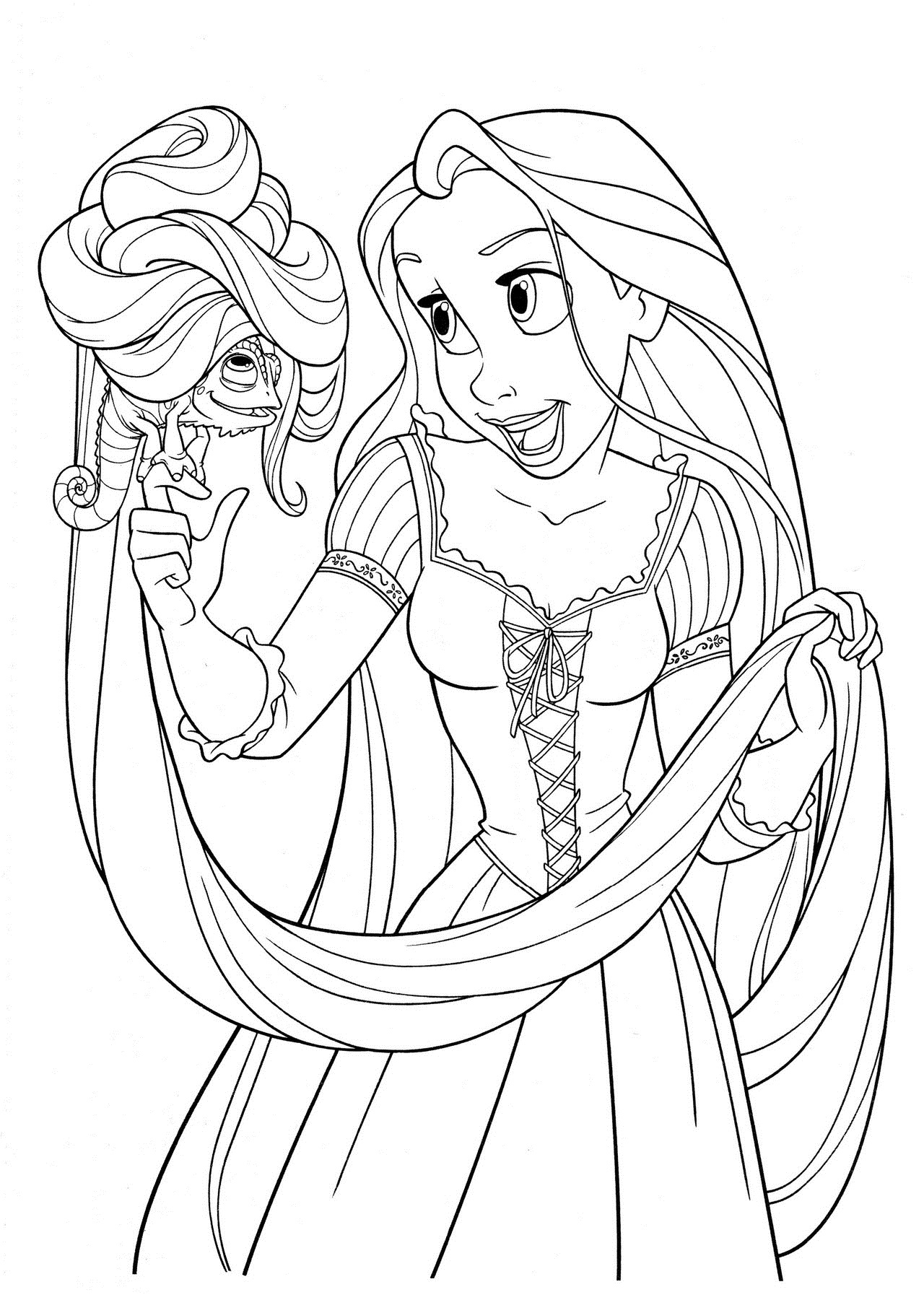 Rapunzel palyiing with pascal coloring pages