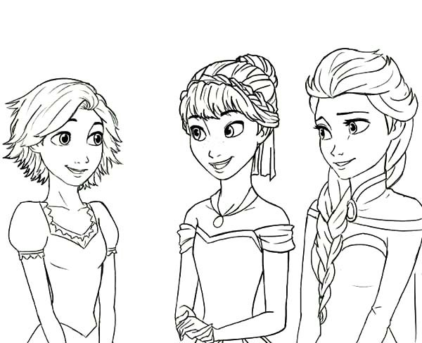 Rapunzel with Frozen Girls coloring pages