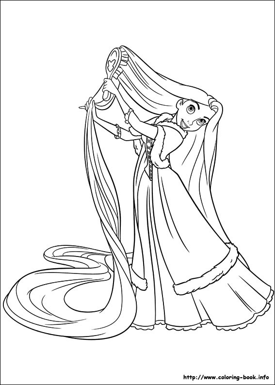 Rapunzel brushing hair