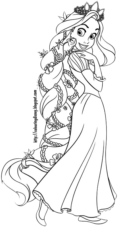 rapunzel with pascal on her beautiful hair - Tangled Coloring Pages Printable