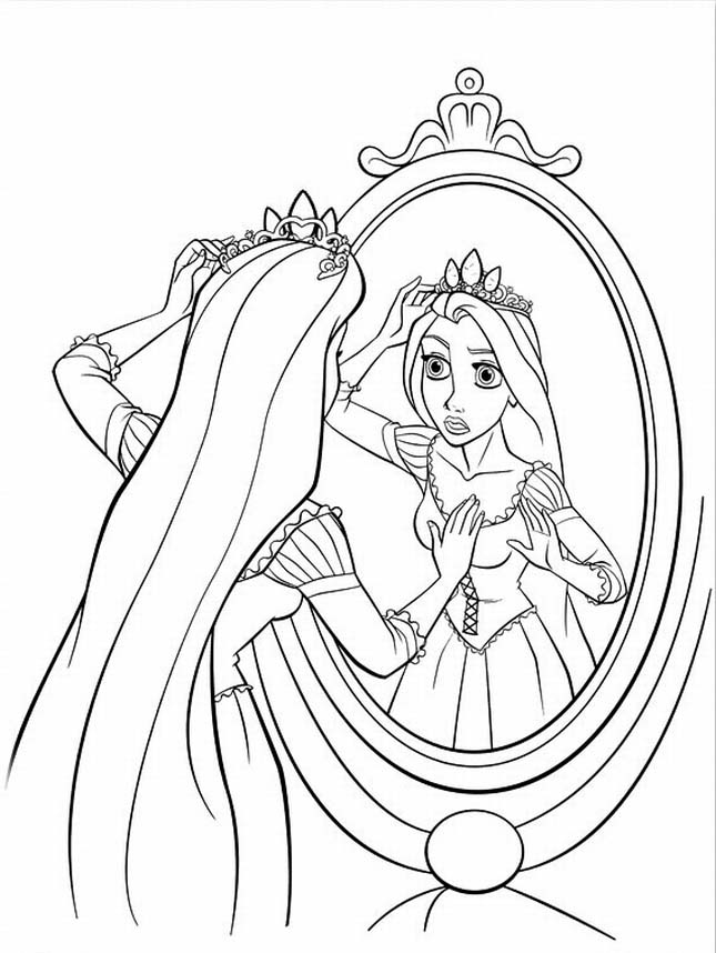 Rapunzel with Crown coloring Pages
