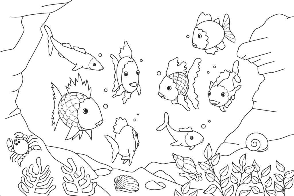 eight fish coloring page