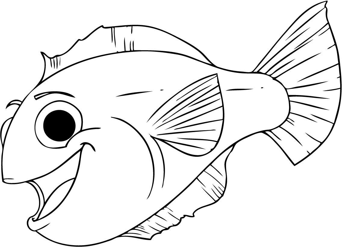 Cute smiling Fish coloring page