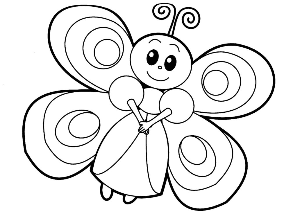 cute butterfly coloring page - Printable Animal Coloring Pages