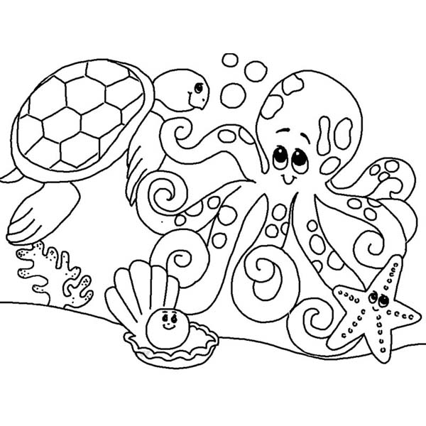 underwater creatures tortoise and octopus coloring page